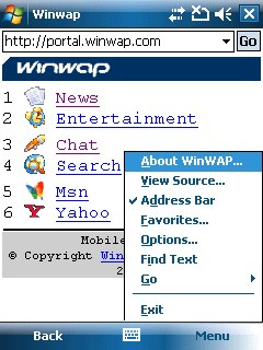 WinWAP for Windows Mobile Professional Screen shot